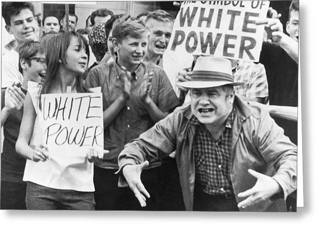Protesters Greeting Cards - White Power Demonstrators Greeting Card by Underwood Archives