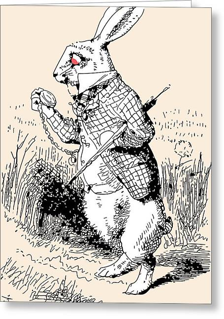 Rabbit Drawings Greeting Cards - White Rabbit Alice in Wonderland Greeting Card by John Tenniel