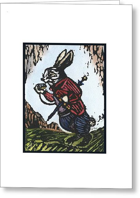 Rabbit Reliefs Greeting Cards - White Rabbit Greeting Card by Barbara M Wilson
