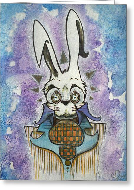 Rabbit Drawings Greeting Cards - White Rabbit Greeting Card by Ellen Henneke