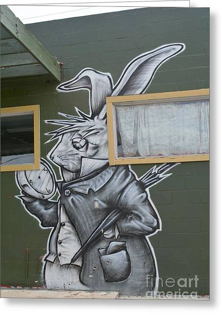 March Hare Greeting Cards - White Rabbit Greeting Card by Lne Kirkes