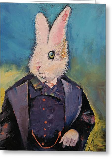 Lapin Greeting Cards - White Rabbit Greeting Card by Michael Creese
