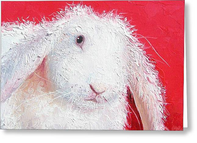 Bunny Greeting Cards - White Rabbit Painting Greeting Card by Jan Matson