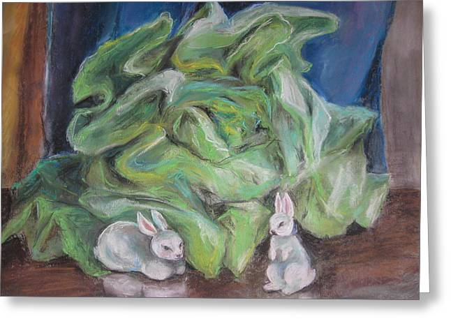 Rabbit Pastels Greeting Cards - White Rabbits And Lettuce Greeting Card by Katarzyna Popowicz