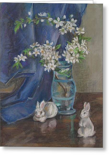 Rabbit Pastels Greeting Cards - White Rabbits And White Flowers Greeting Card by Katarzyna Popowicz