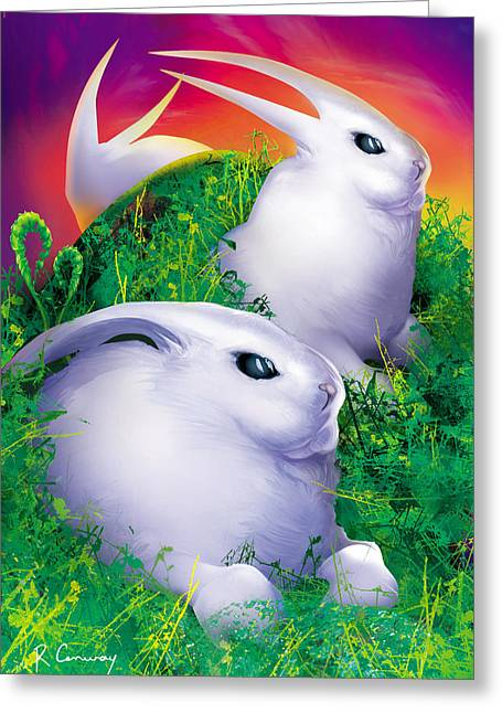 Robert Conway Greeting Cards - White Rabbits Greeting Card by Robert Conway