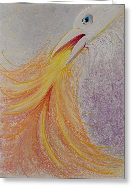 Raven Pastels Greeting Cards - White Raven Flaming Beak Greeting Card by Jocelyn Paine
