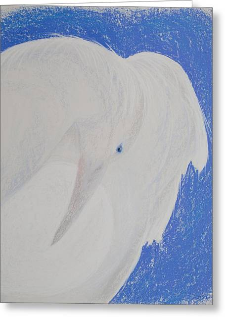 Raven Pastels Greeting Cards - White Raven Moon Greeting Card by Jocelyn Paine