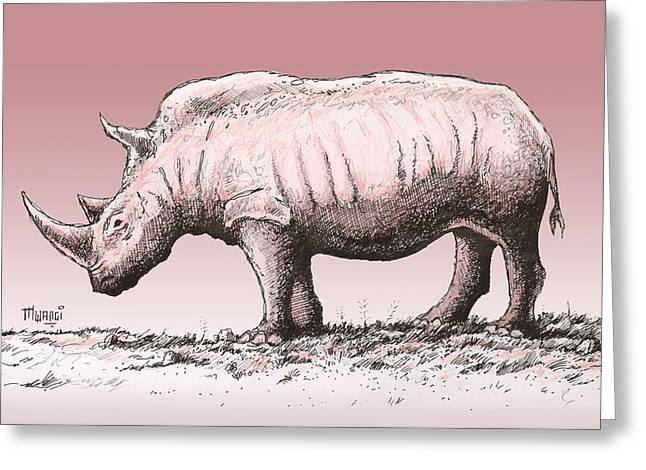 Reserve Drawings Greeting Cards - White Rhino Greeting Card by Anthony Mwangi