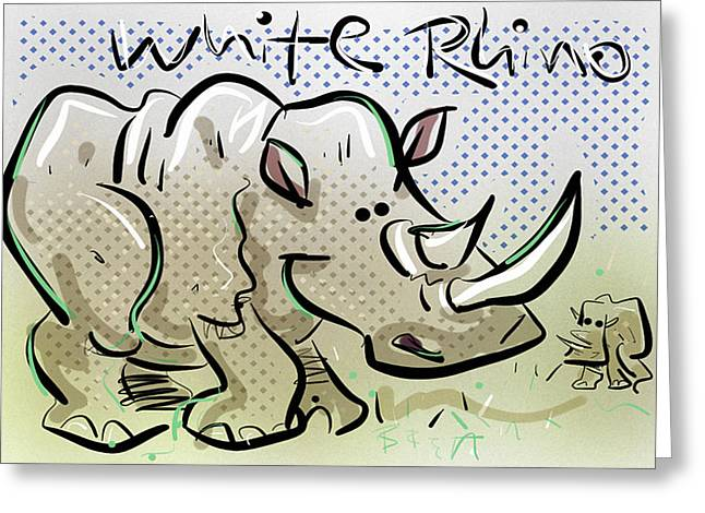 Northern Africa Digital Art Greeting Cards - White Rhino Greeting Card by Brett LaGue
