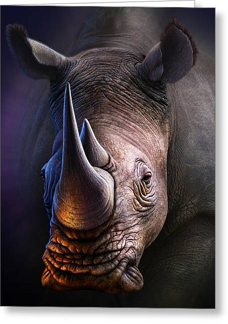 Rhinos Greeting Cards - White Rhino Greeting Card by Jerry LoFaro