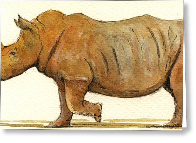 Rhinos Greeting Cards - White Rhino Greeting Card by Juan  Bosco