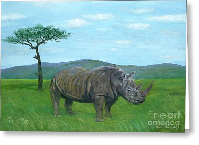 Northern Africa Paintings Greeting Cards - White Rhinoceros Greeting Card by Tom Blodgett Jr