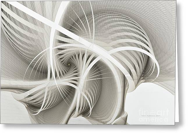 Fractal Greeting Cards - White Ribbons Spiral Greeting Card by Karin Kuhlmann
