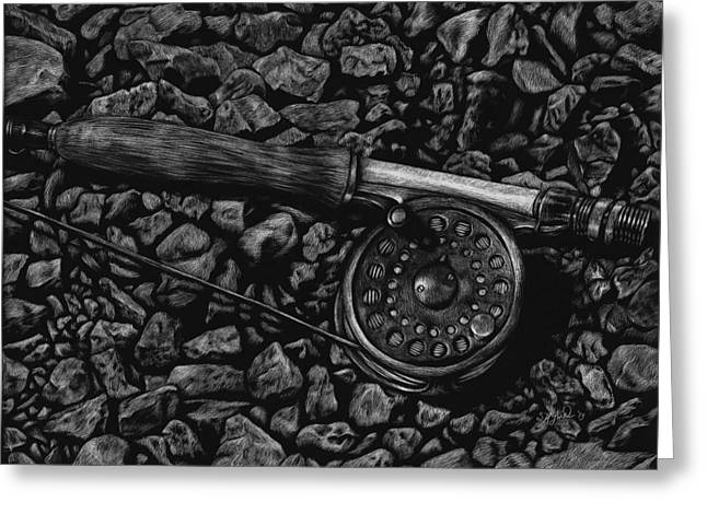 Fishing Rods Drawings Greeting Cards - White River Contemplation Greeting Card by Stephanie Ford
