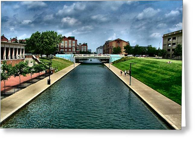 Julie Dant Photographs Greeting Cards - White River Park Canal in Indy Greeting Card by Julie Dant