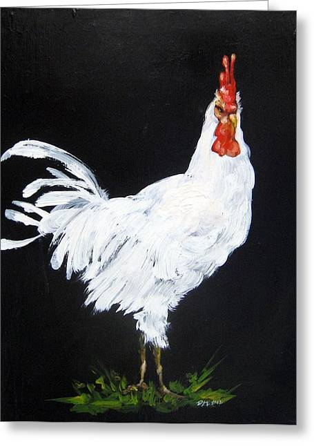 Vermont Rooster Greeting Cards - White Rooster I Greeting Card by Donna Ellery