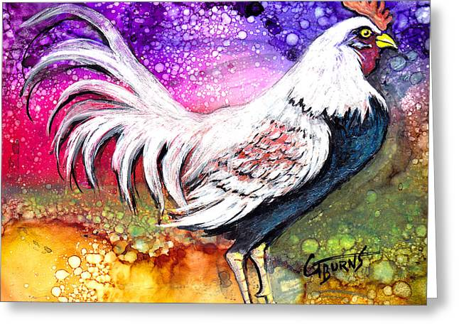 Barn Yard Mixed Media Greeting Cards - White Rooster Illustration Greeting Card by GG Burns
