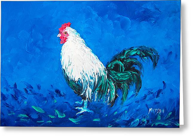 Butchers Decor Greeting Cards - White Rooster for a blue kitchen Greeting Card by Jan Matson