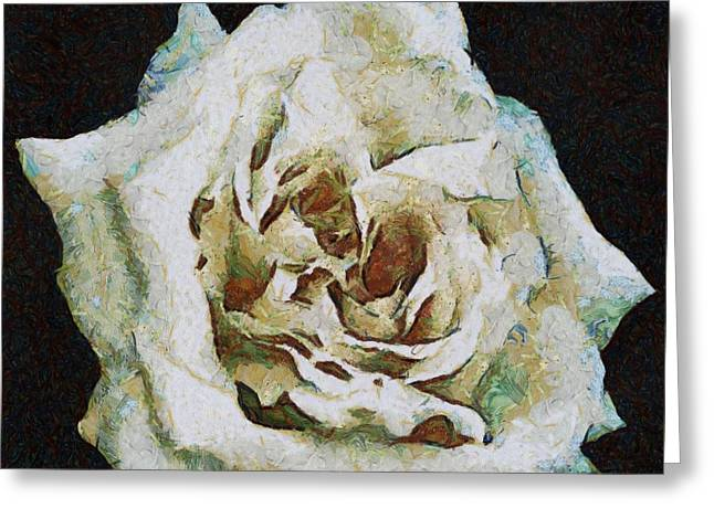 Innocence Greeting Cards - White Rose Greeting Card by Tracey Harrington-Simpson