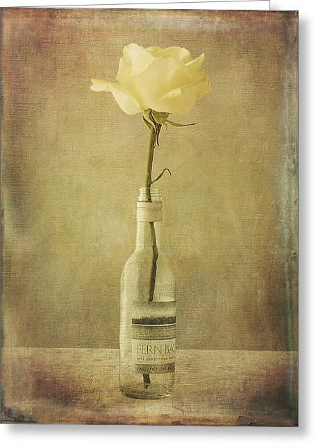 White Digital Greeting Cards - White Rose Wine Greeting Card by Gill Rogers