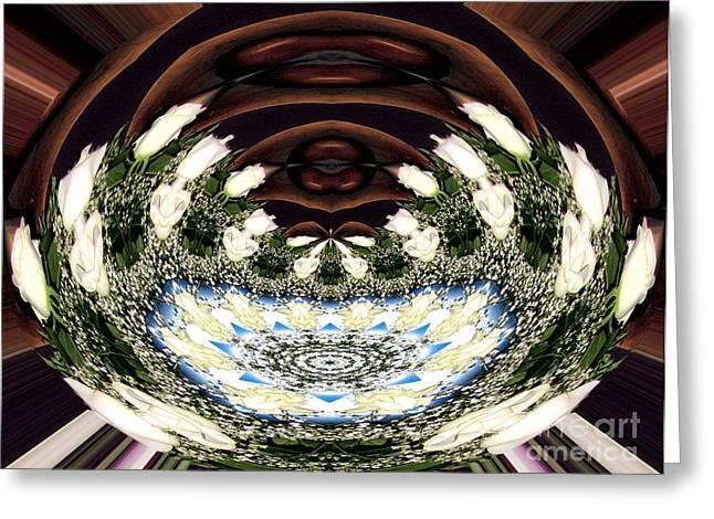 Abstract Rose Oval Greeting Cards - White roses and babys breath polar coordinates effect Greeting Card by Rose Santuci-Sofranko