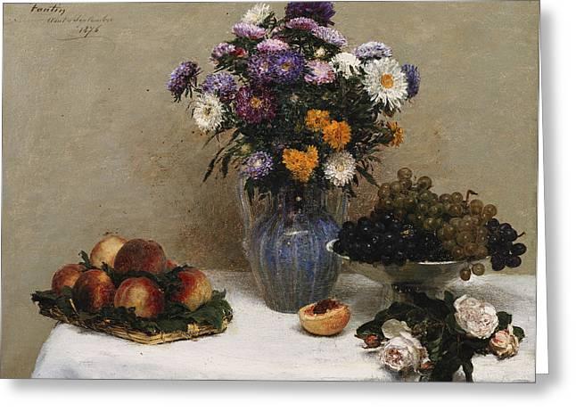 Chrysanthemums Paintings Greeting Cards - White Roses and Chrysanthemums Greeting Card by Ignace Henri Jean Fantin-Latour