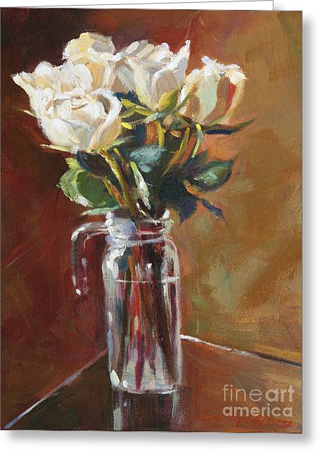 Pitcher Paintings Greeting Cards - White Roses and Glass Greeting Card by David Lloyd Glover