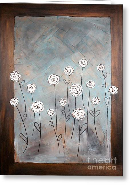 Interior Still Life Paintings Greeting Cards - White roses Greeting Card by Home Art