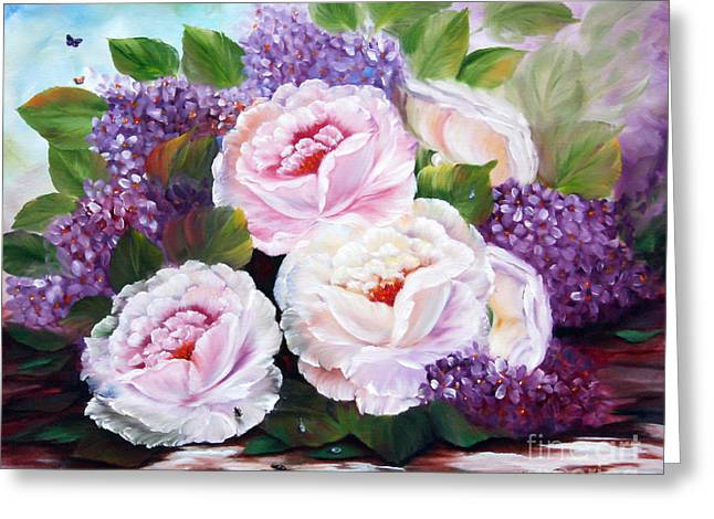 Shower Curtain Greeting Cards - White Roses Greeting Card by  ILONA ANITA TIGGES - GOETZE  ART and Photography