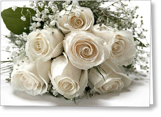 Water Drops Greeting Cards - White Roses Greeting Card by Susan Candelario