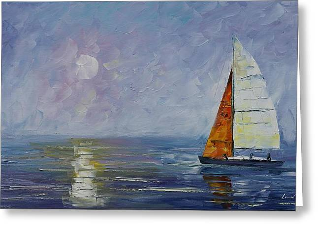 Docked Boat Greeting Cards - White Sail - Palette Knife Oil Painting On Canvas By Leonid Afremov Greeting Card by Leonid Afremov
