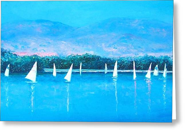 Wind Surfing Print Greeting Cards - White Sails Greeting Card by Jan Matson