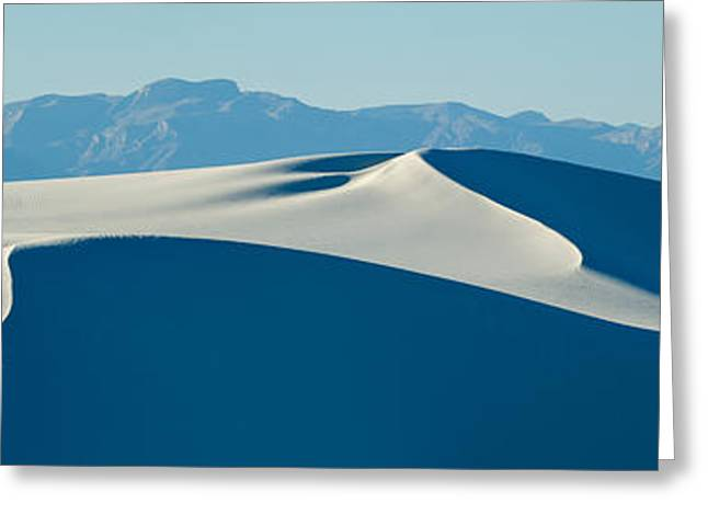 White Sands National Monument Greeting Cards - White Sand Dunes With Mountains Greeting Card by Panoramic Images