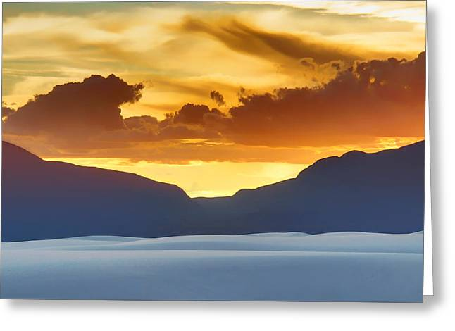 Calcium Greeting Cards - White Sands Sunset #3 - New Mexico Greeting Card by Nikolyn McDonald