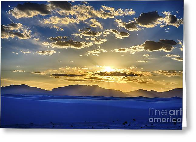 Scotts Scapes Greeting Cards - White Sands Sunset Greeting Card by Scotts Scapes