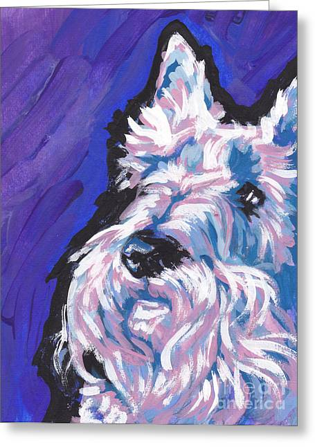 Scottie; Dog Greeting Cards - White Scot Greeting Card by Lea
