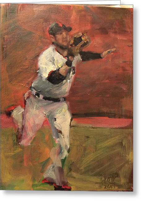 Baseball Paintings Greeting Cards - White Shark Snatch Greeting Card by Darren Kerr