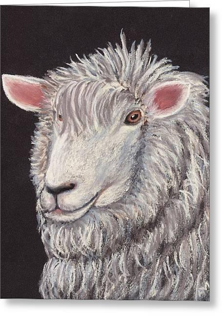 Farmer Pastels Greeting Cards - White Sheep Greeting Card by Anastasiya Malakhova