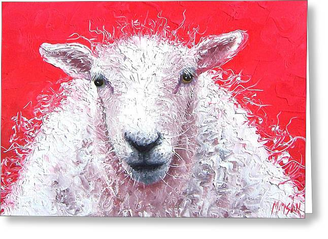 For The Kids Greeting Cards - White Sheep Greeting Card by Jan Matson