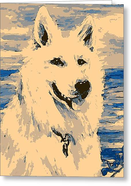 Prick Greeting Cards - White Shepherd Pillow Greeting Card by Isabella F Abbie Shores LstAngel Arts