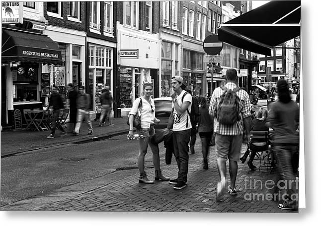 White Shirt Greeting Cards - White Shirts in Amsterdam mono Greeting Card by John Rizzuto