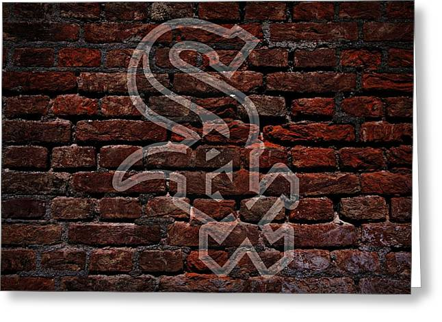 Baseball Art Digital Art Greeting Cards - White Sox Baseball Graffiti on Brick  Greeting Card by Movie Poster Prints