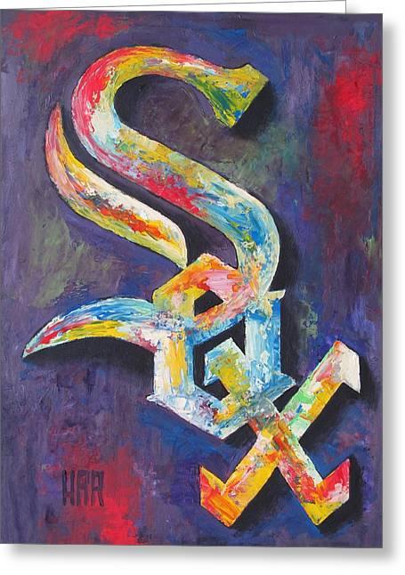 Chicago White Sox Baseball Greeting Card by Dan Haraga