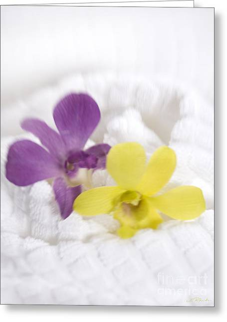 Therapy Greeting Cards - White Spa Towel with Two Orchids Greeting Card by Iris Richardson