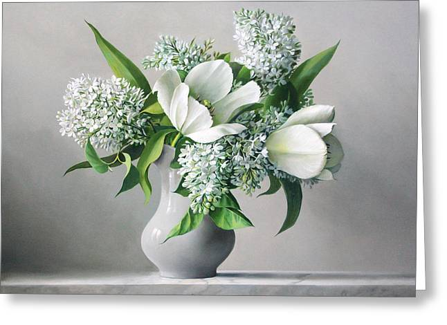 White Paintings Greeting Cards - White  Sprintime  Flowers Greeting Card by Pieter Wagemans