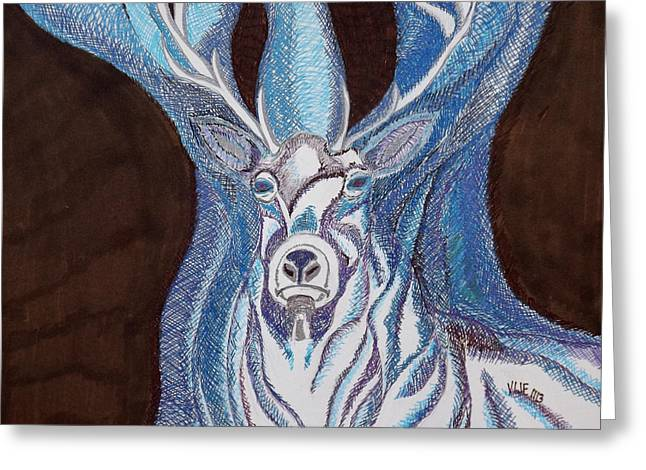 White Stag Greeting Card by Turtle Mull