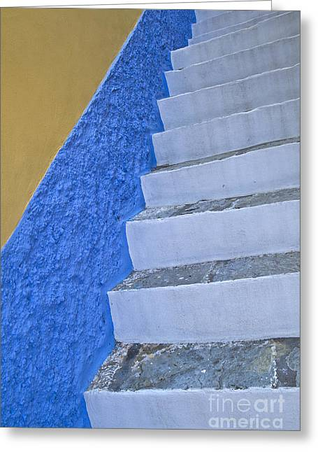 Painted Garden Gate Greeting Cards - White stairs and blue wall Greeting Card by IB Photo