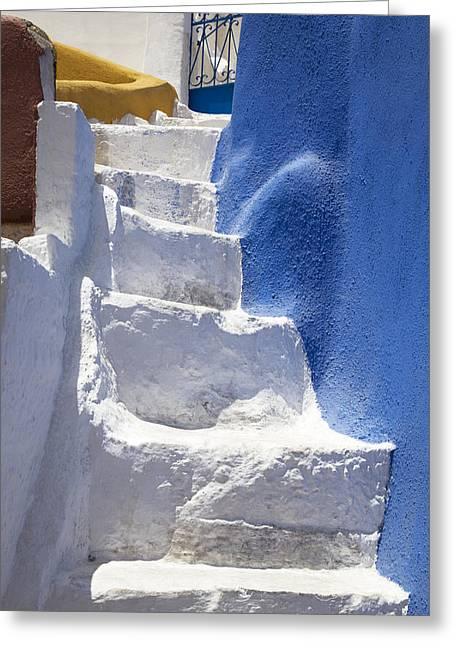 Flight Of Stairs Greeting Cards - White stairs Oia Greeting Card by Jim  Wallace