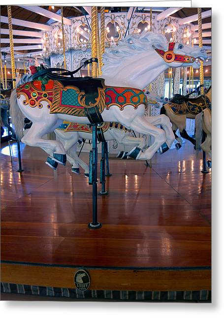White Stallion Of Looff Carousel  1909 Greeting Card by Daniel Hagerman